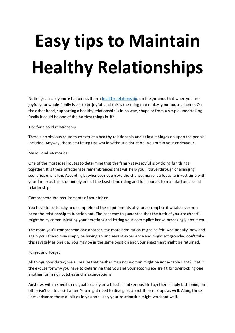 Ways To Maintain A Salubrious Relationship