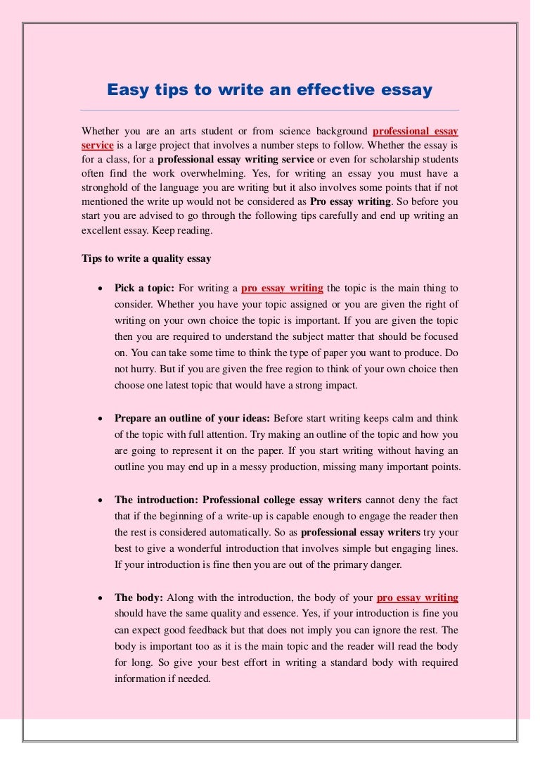 Easy tips to write an effective essay