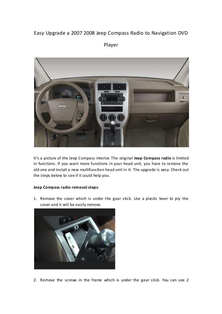 2008 Jeep Compass Stereo Commander Fuse Box Diagram Under Dash Easy Upgrade A Radio To Navigation Player 768x1087
