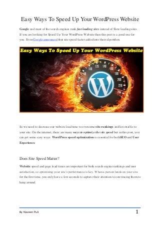 Easy Ways To Speed Up Your WordPress Website