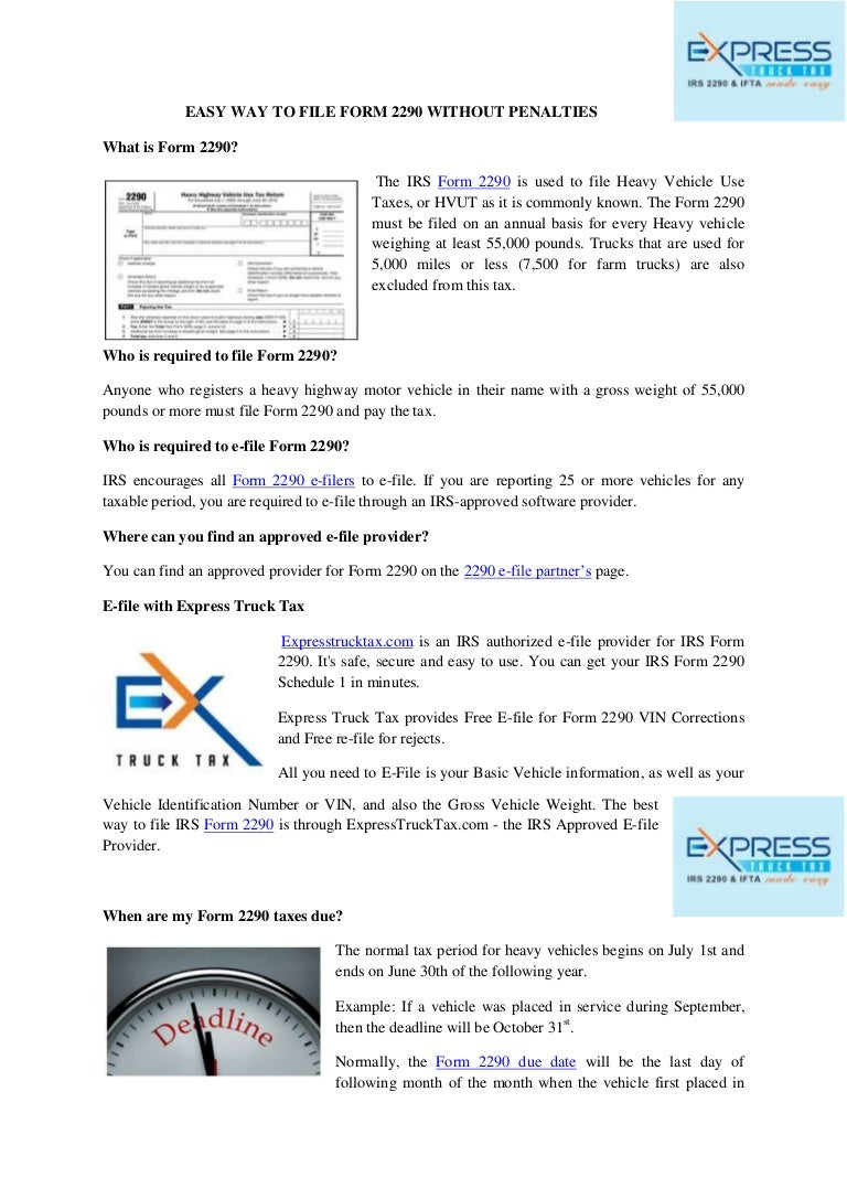 Easy way to file form 2290 without penalties - Express Truck Tax