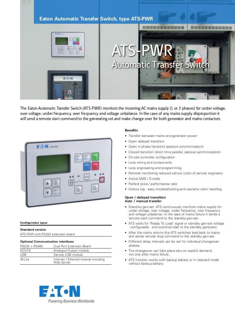 Eaton Ats Automatic Transfer Switch Pwr Wiring Diagram