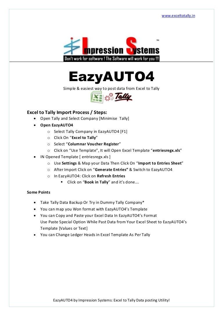 Eazyauto4 how to import excel to tally process alramifo Choice Image