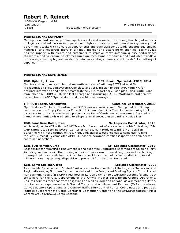 logistics management specialist resume