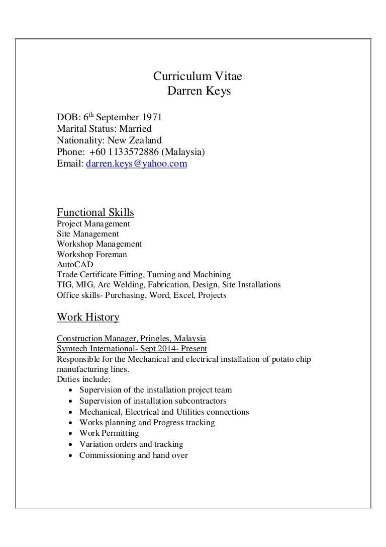 Darren Keys CV