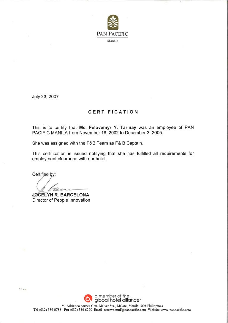 Pan pacific manila certification xflitez Gallery