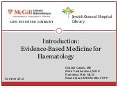 Introduction - Evidence-Based Medicine for Haematology