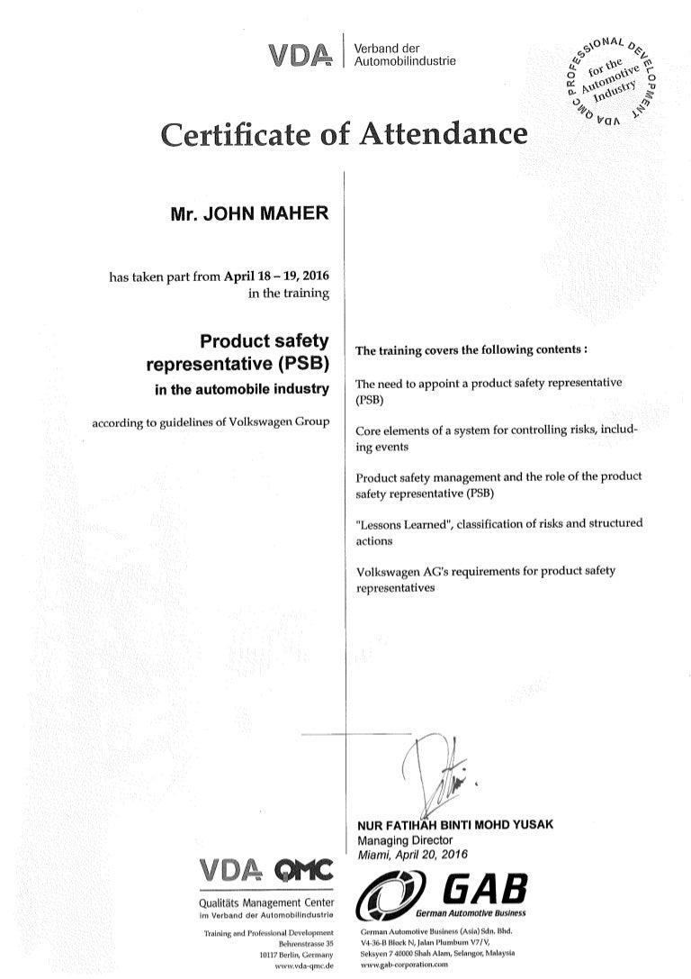 . J  Maher   PSB Certificate