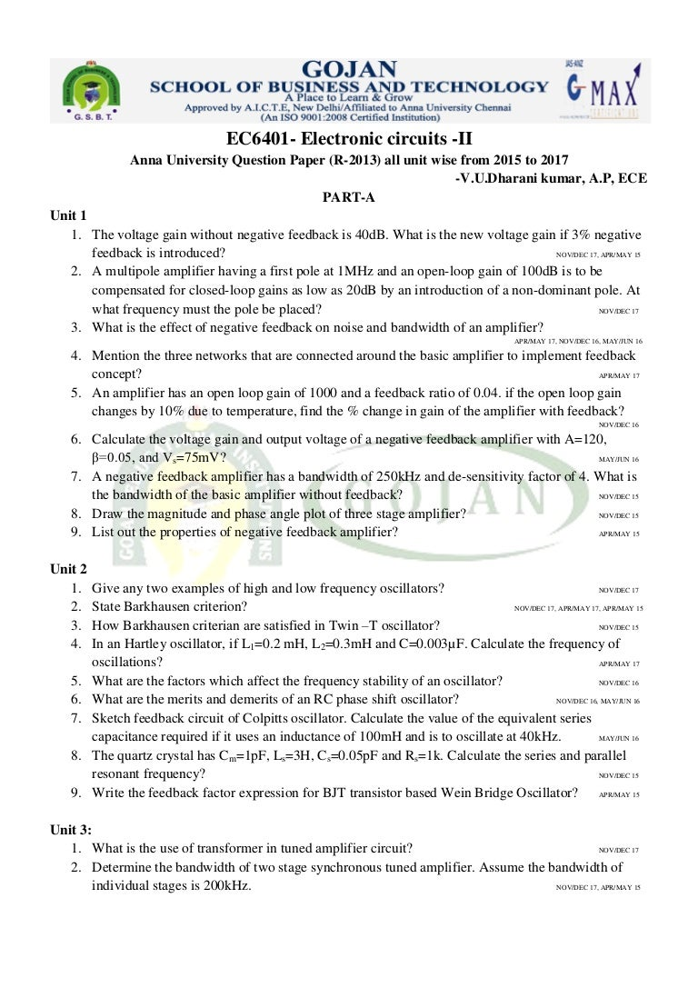 Ec6401 Ec Ii University Questions Sawtooth Wave Generator Circuit Using Ujt