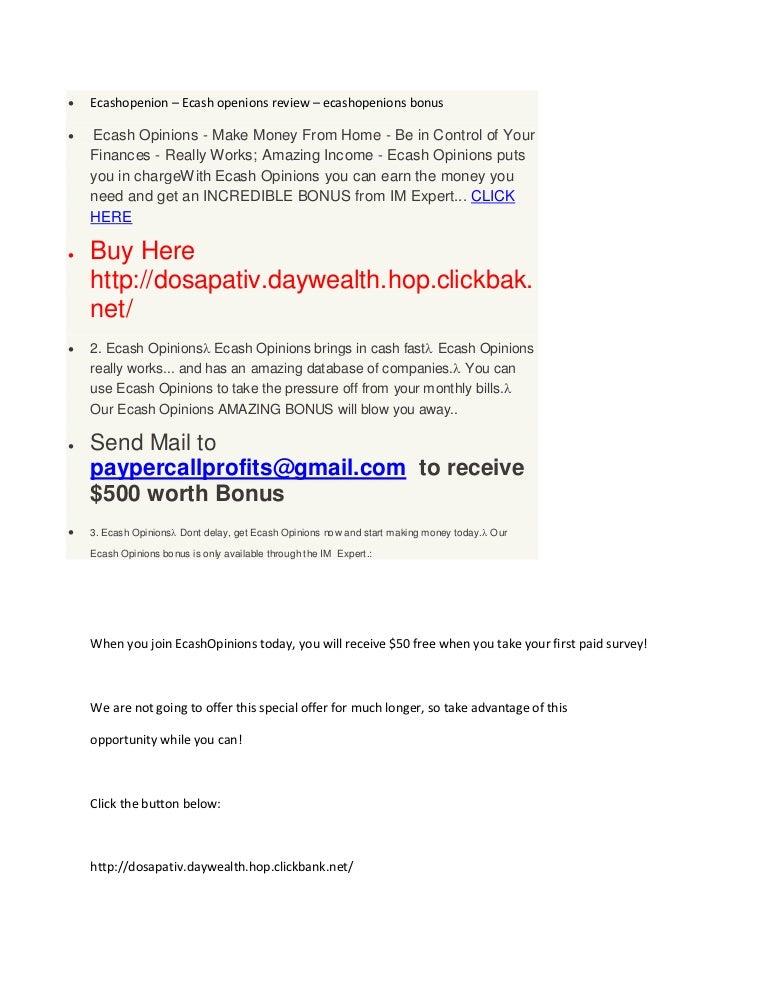 ecashopenions ecash opinions review ecash openions 500 bonus