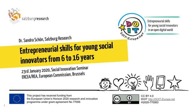 Entrepreneurial Skills for young social innovators (Presentation at ERCEA and REA, EC)