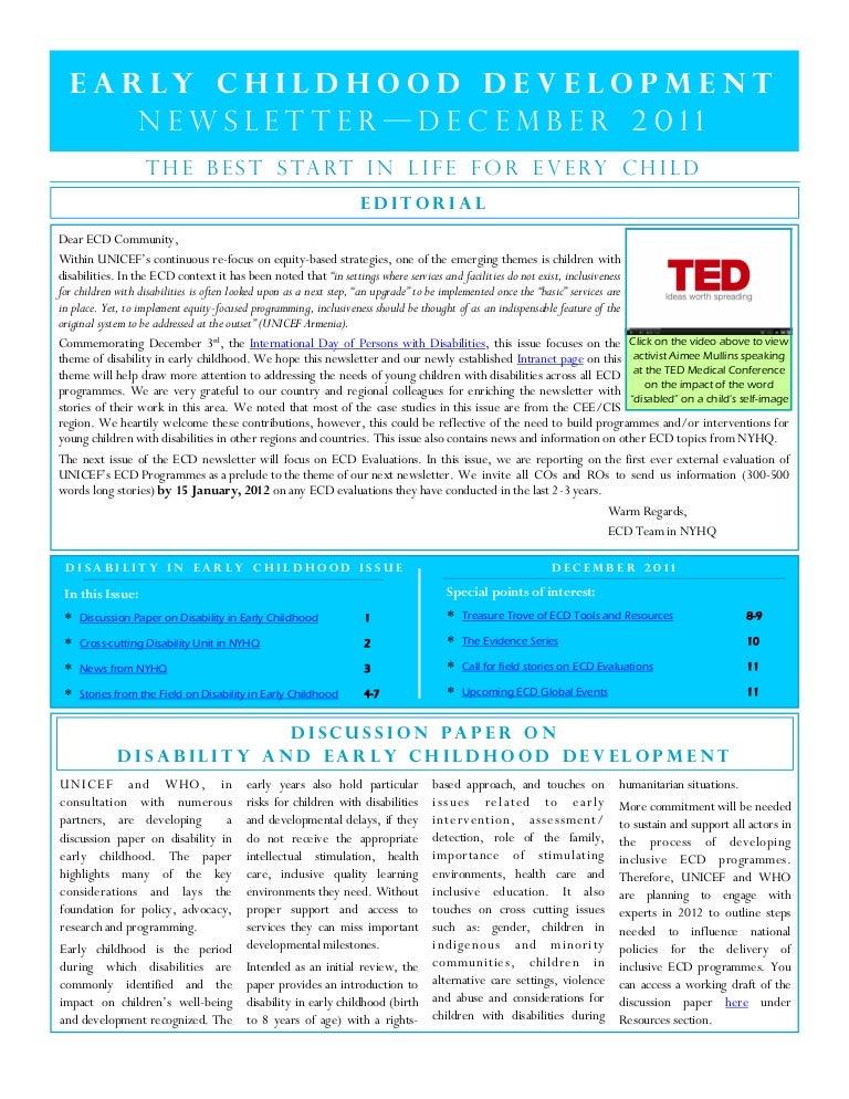 UNICEF ECD newsletter (disability)