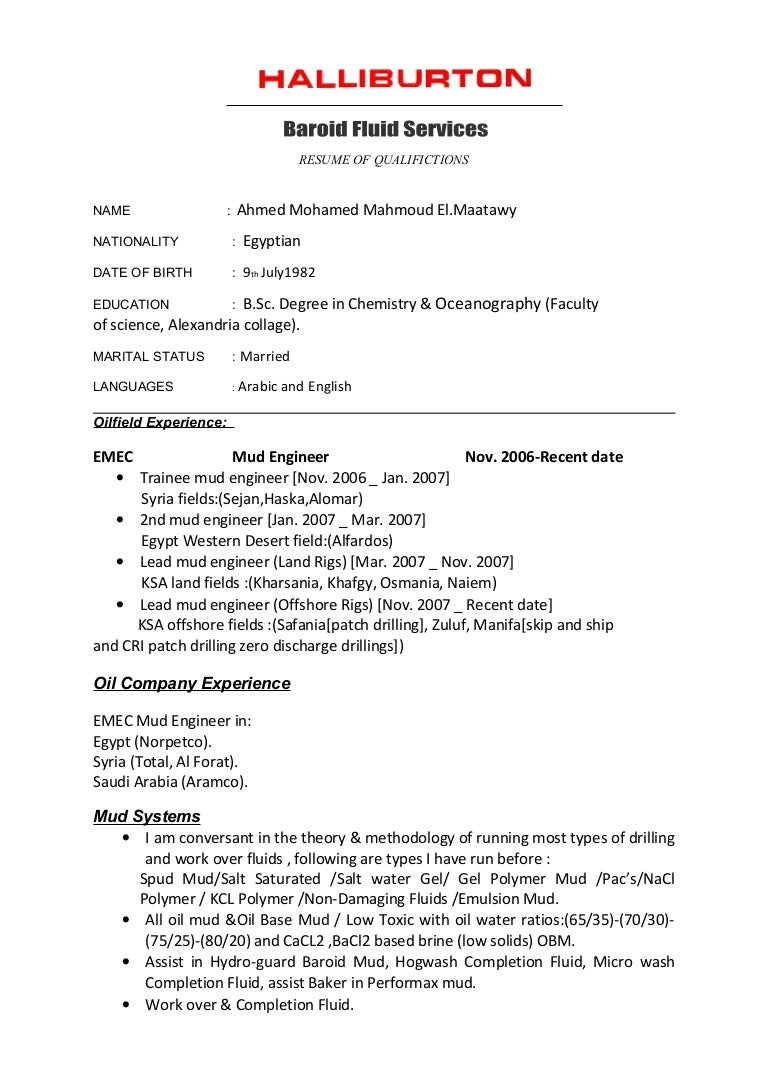 cv halliburton format - Halliburton Field Engineer Sample Resume