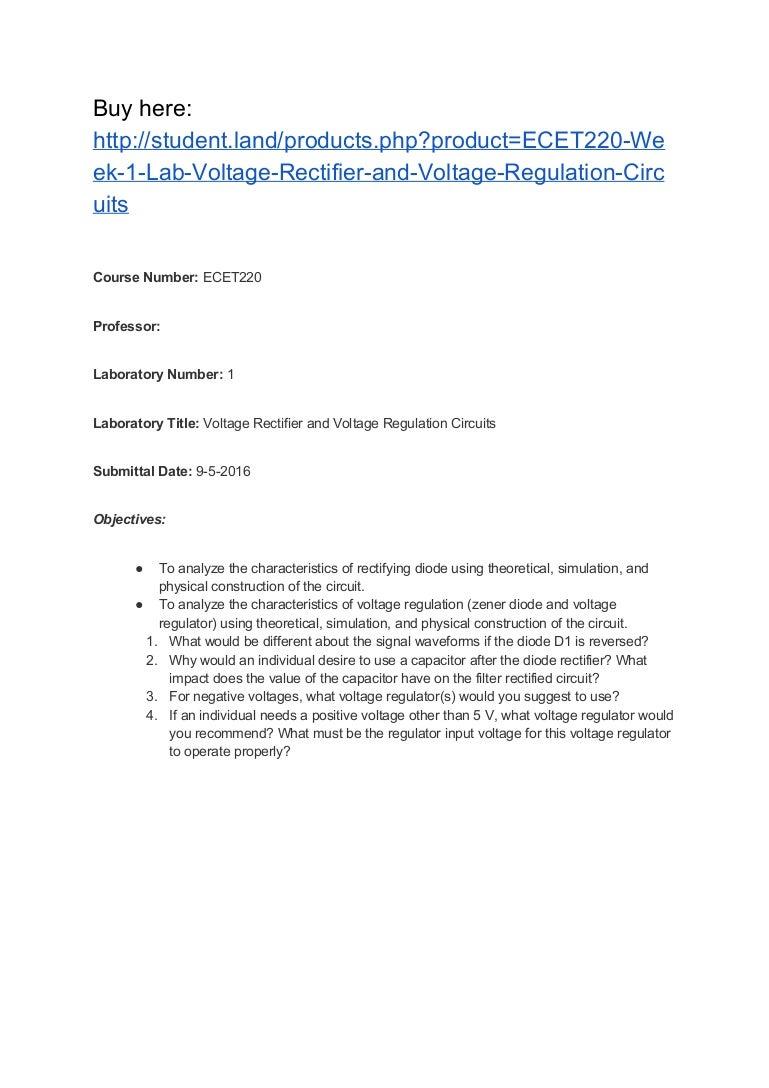 Ecet220 Week 1 Lab Voltage Rectifier And Regulation Circuits Circuit