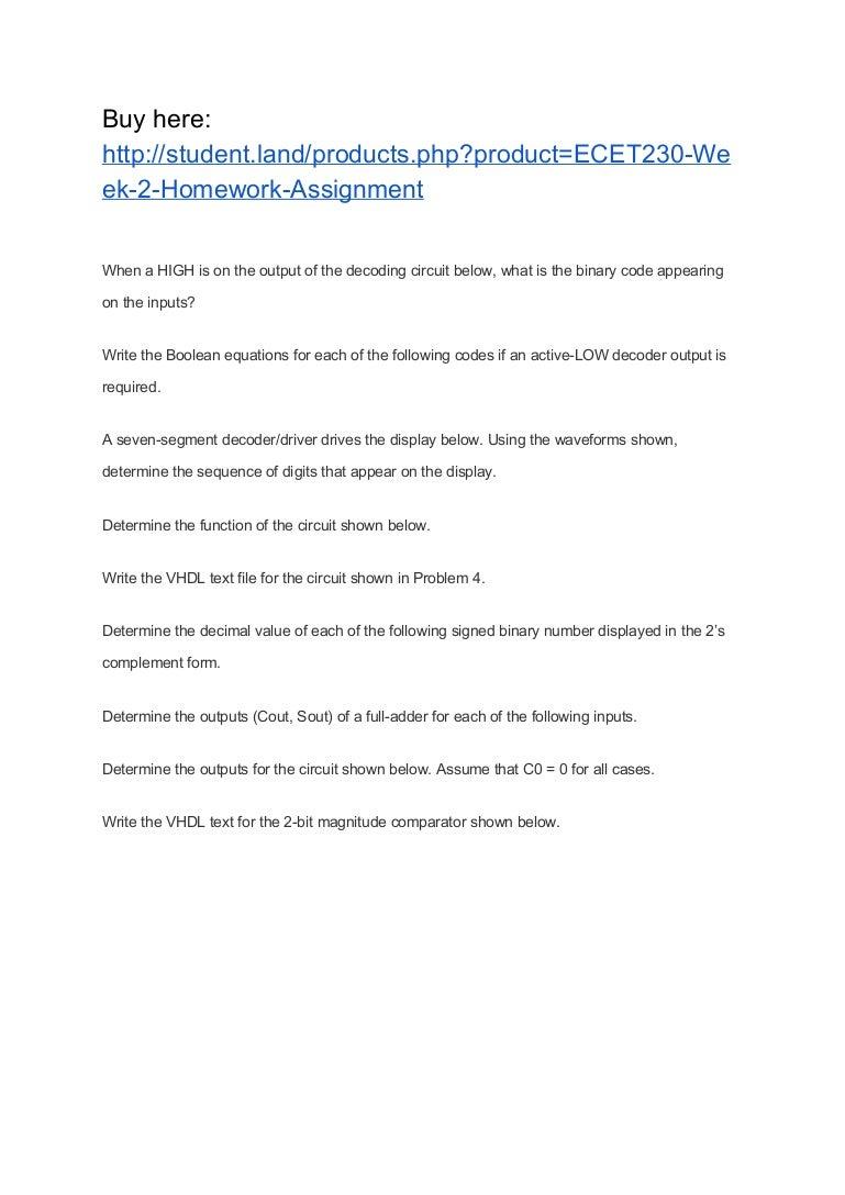 Ecet230 Week 2 Homework Assignment The Full Adder Interactive Circuit