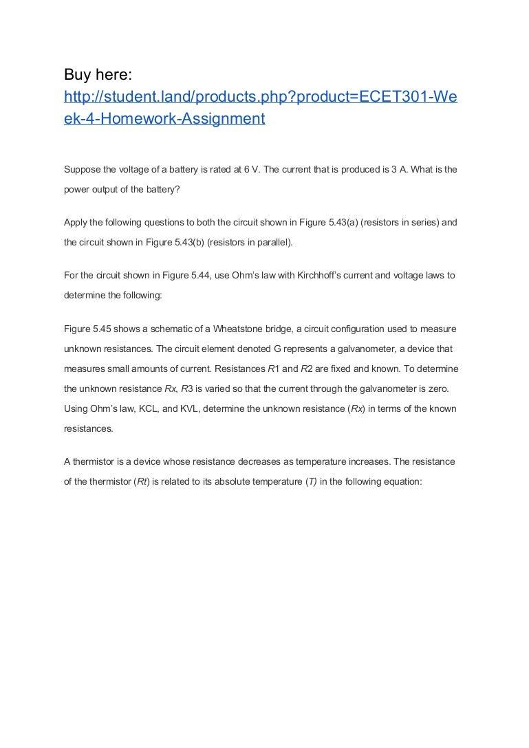 Ecet301 Week 4 Homework Assignment Of An Electrical Circuit Showing The Wheatstone Bridge
