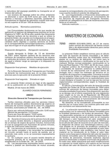 Eco 805 2003 Normas de valoración de bienes inmuebles