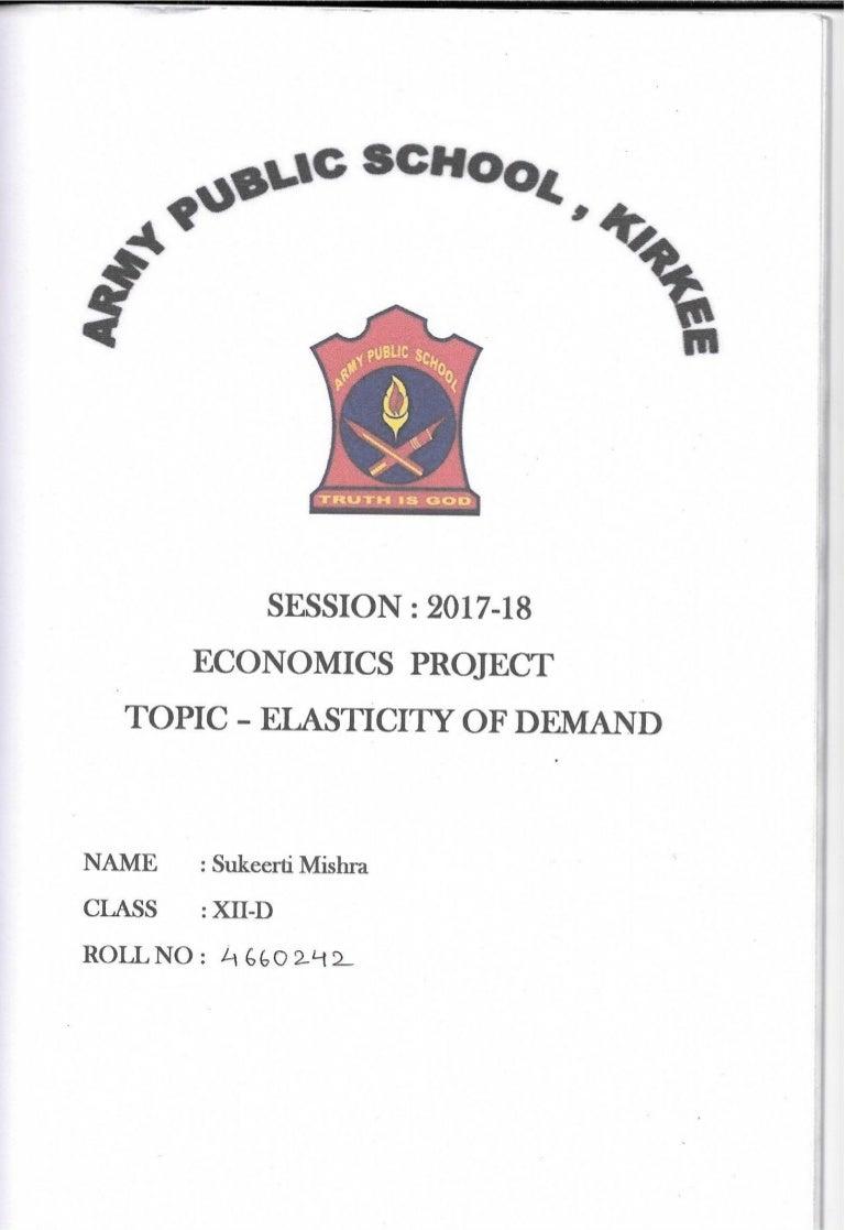Class 12 Economics Board Project Elasticity Of Demand