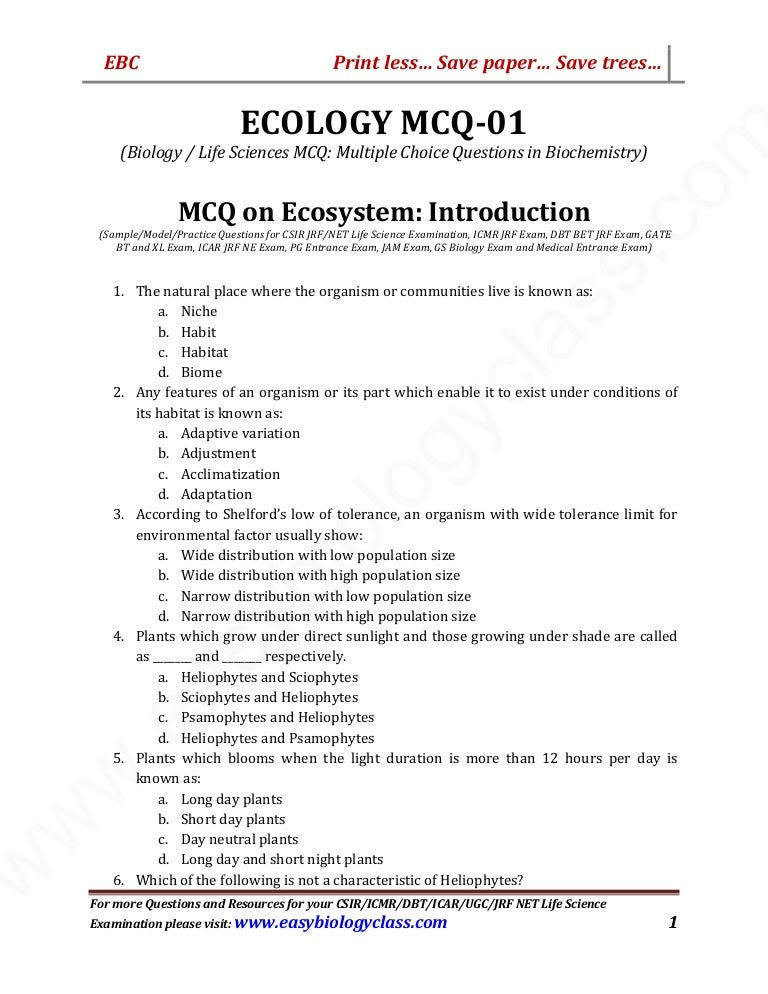 MCQ on Ecology: Part 1: Ecology Introduction by Easybiologyclass