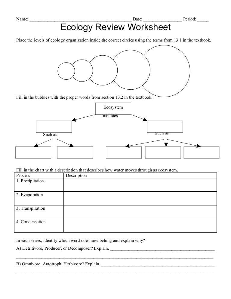 Ecology Worksheets Delibertad – Ecology Worksheets