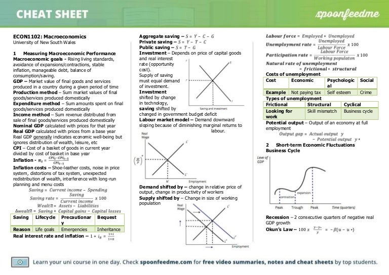 ECON1102 Past Paper Summary | University of New South Wales