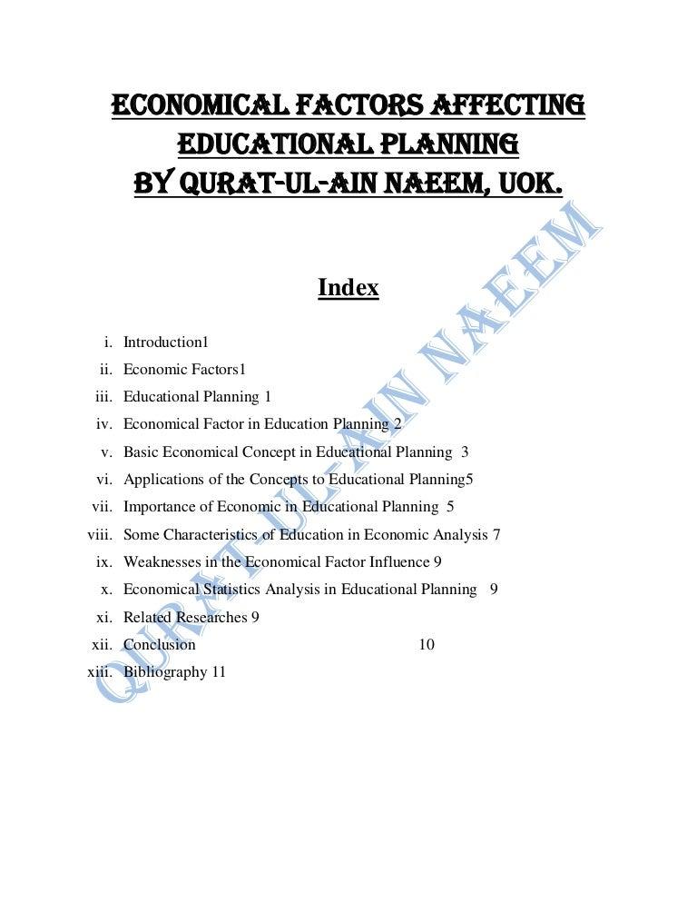 Economical Factors Affecting Educational Planning