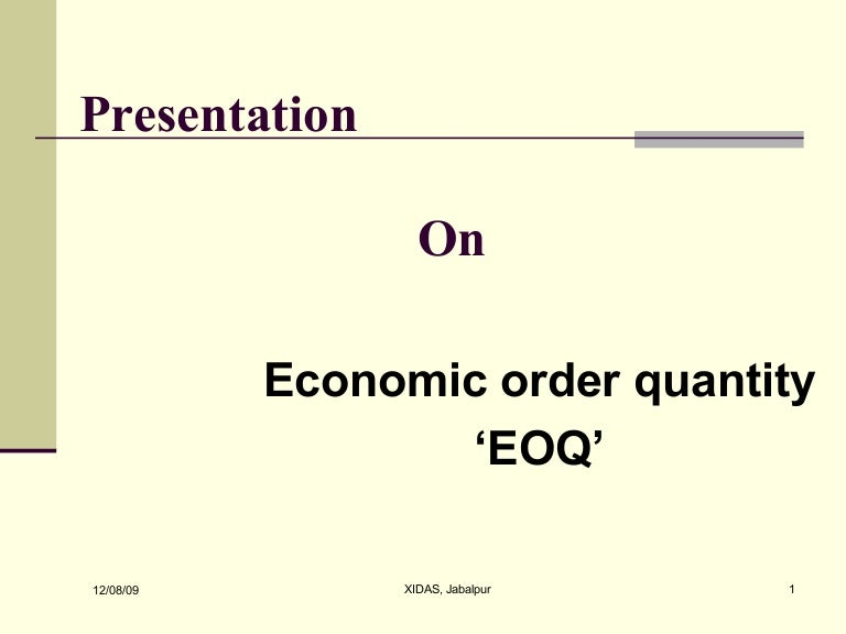 research paper on economic order quantity