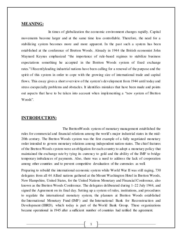 bretton woods system of monetary management