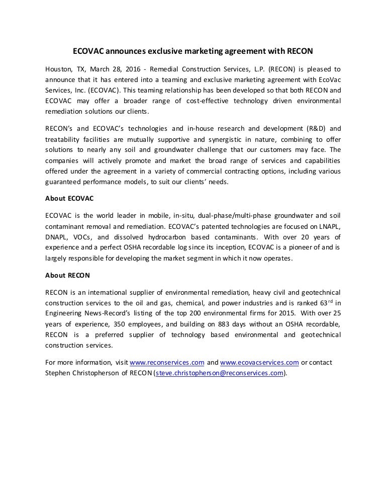 Ecovac Exclusive Marketing Agreement Press Release 2016 03 28