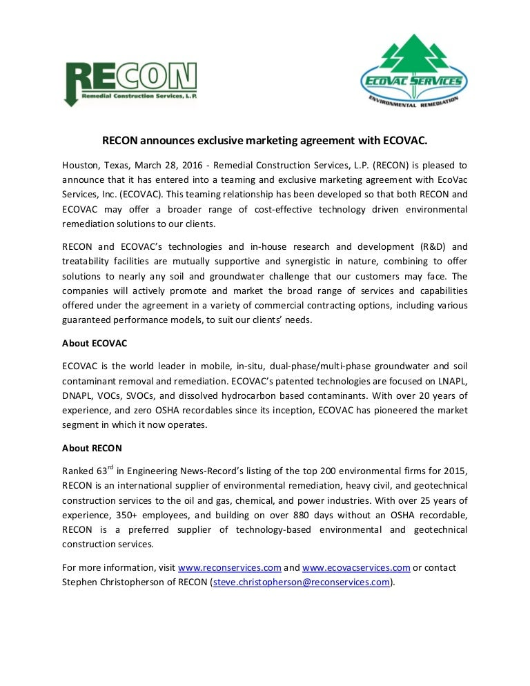 Ecovac Exclusive Marketing Agreement Press Release