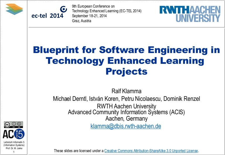 Blueprint for software engineering in technology enhanced learning pr malvernweather Images