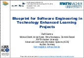 Blueprint for Software Engineering in Technology Enhanced Learning Projects
