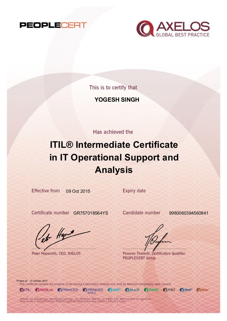 Itil intermediate osa certificate xflitez Images