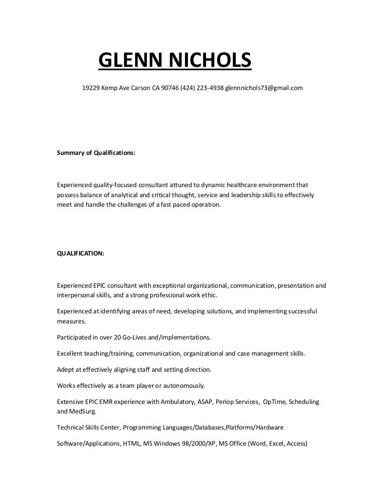 Glenns Resume 2015. Previousnext Epic Consultant. Cover Letter For