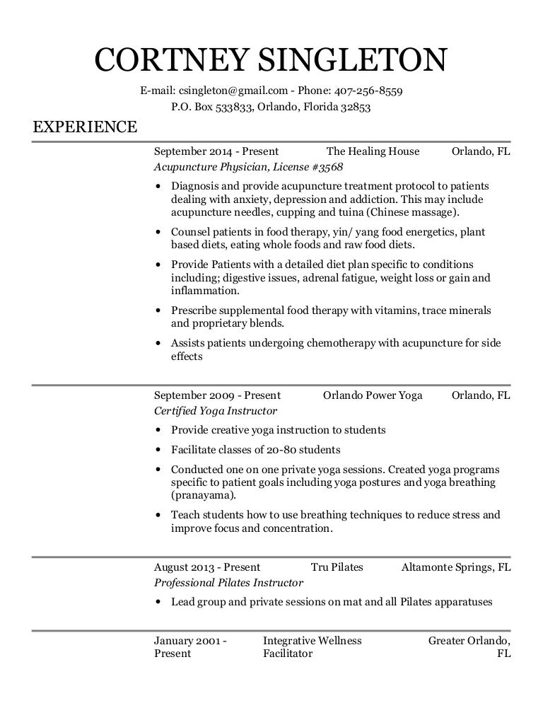 Cs Acupuncture Physician Resume