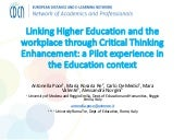 Linking Higher Education and the workplace through Critical Thinking Enhancement: a Pilot experience in the Education context