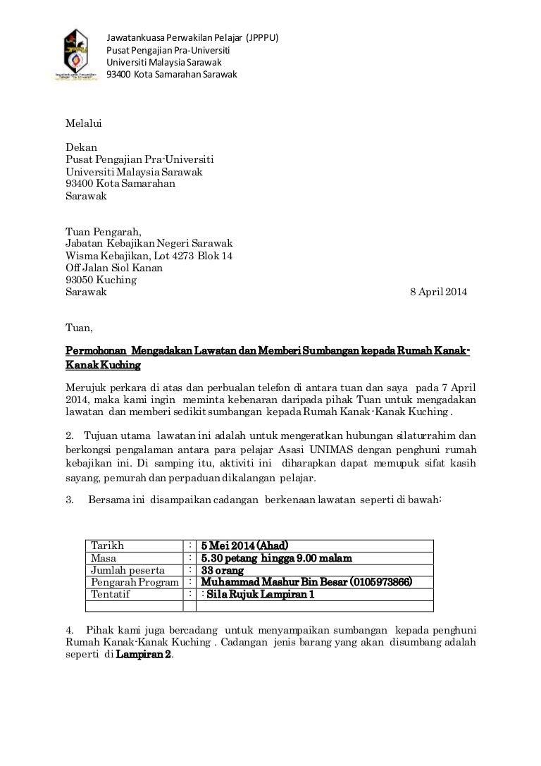 Surat Rasmi Untuk Memohon Sumbangan - URasmi