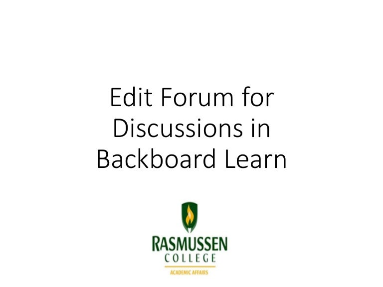 Edit Forum for Discussions in Blackboard Learn