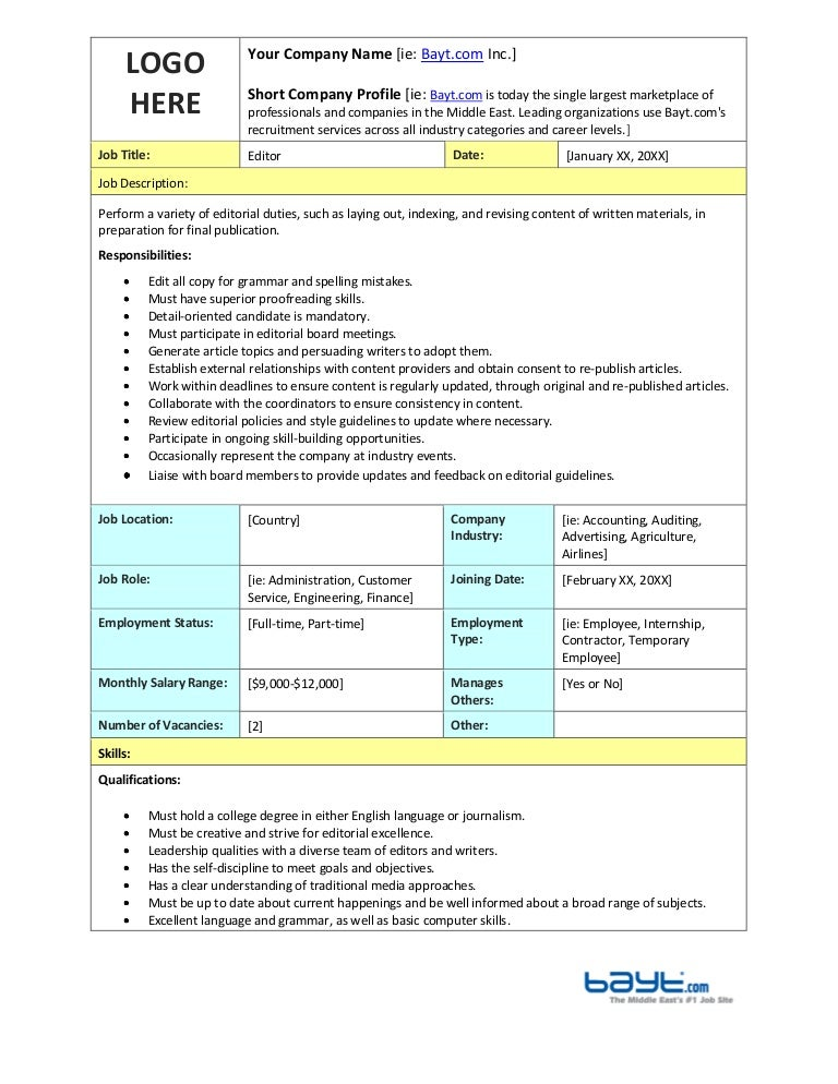 Editor Job Description Template By Bayt.Com