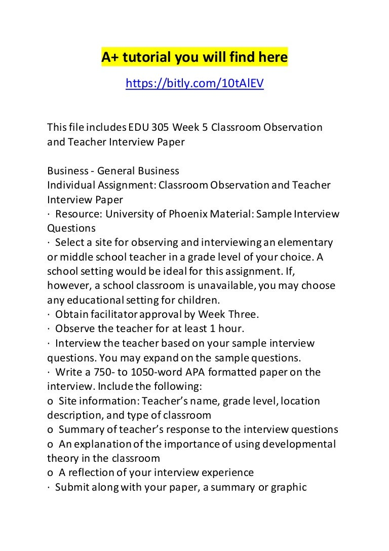 edu week classroom observation and teacher interview paper