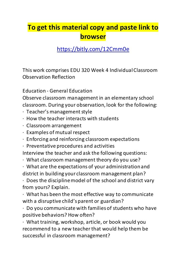 edu week individual classroom observation reflection
