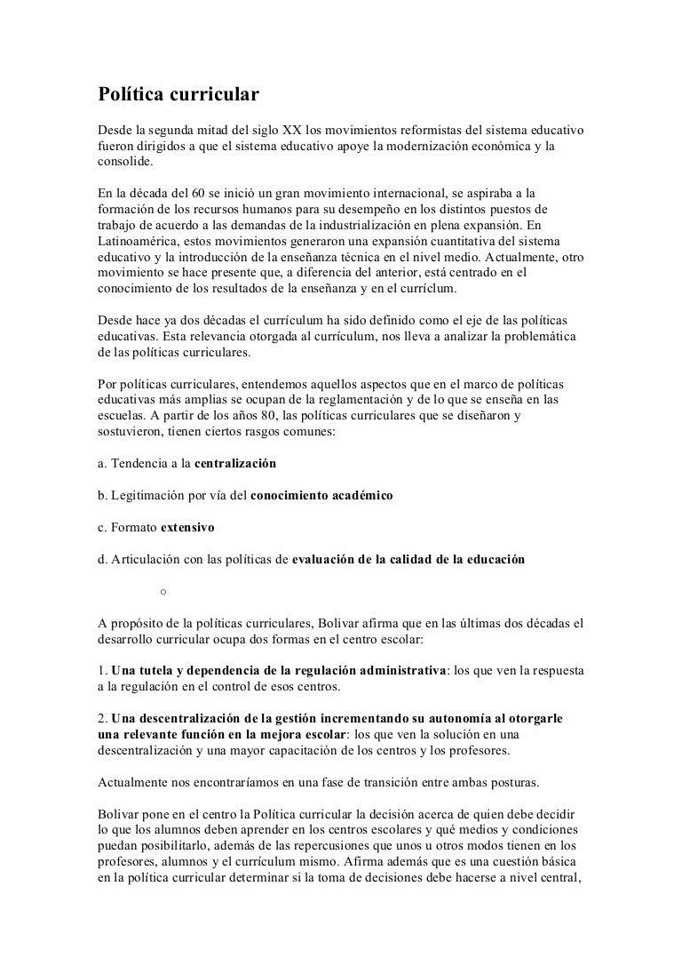 Educacion.idoneos.com política curricular