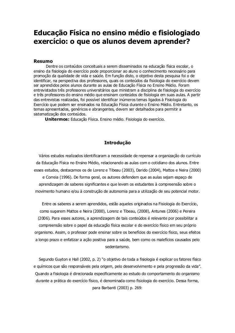 Educação física no ensino médio e fisiologia do exercício e40ec2bfa1bef