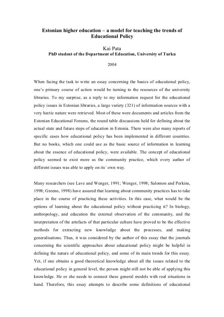educationalpolicy essay pata