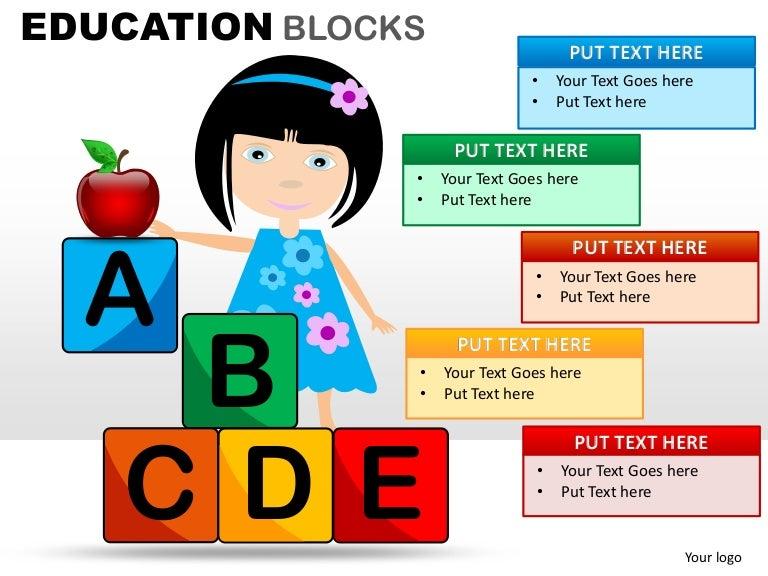 Education blocks powerpoint presentation templates toneelgroepblik Gallery