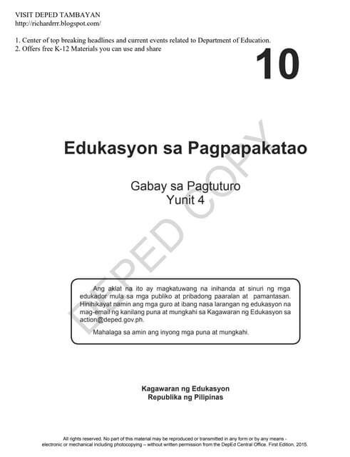 Edukasyon sa pagpapakatao grade 10 tg quarter 4