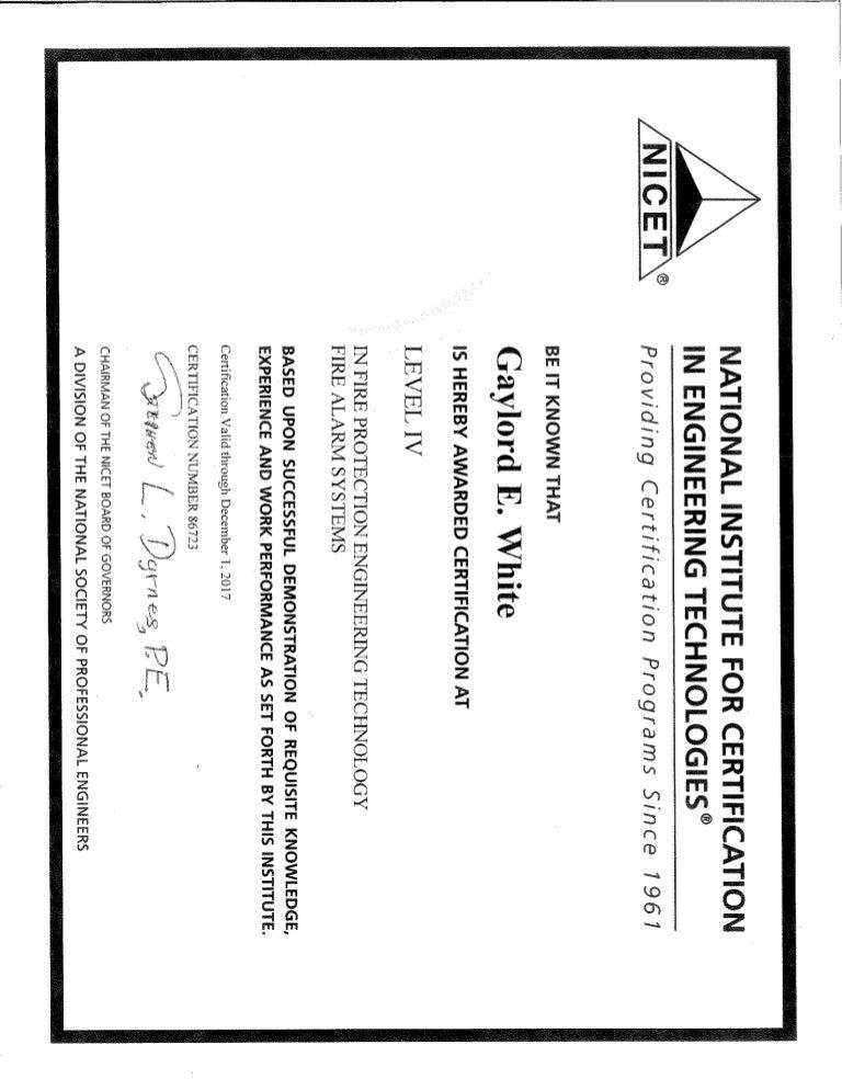 Ed White Nicet Level Iv Certification