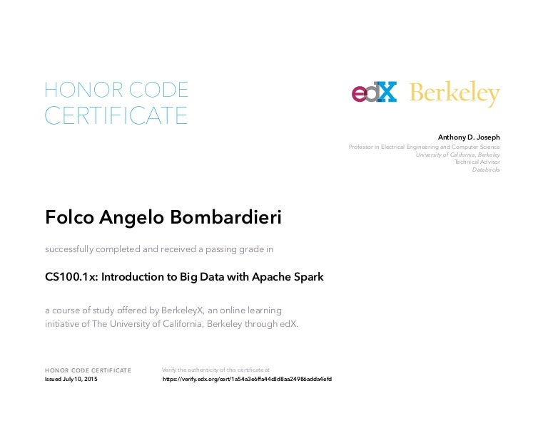 Certificate Of Accomplishment Introduction To Big Data With Apache S