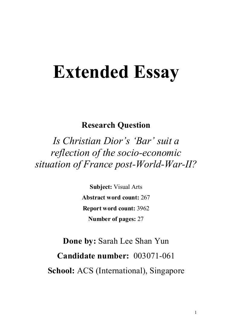 chemistry extended essay research questions