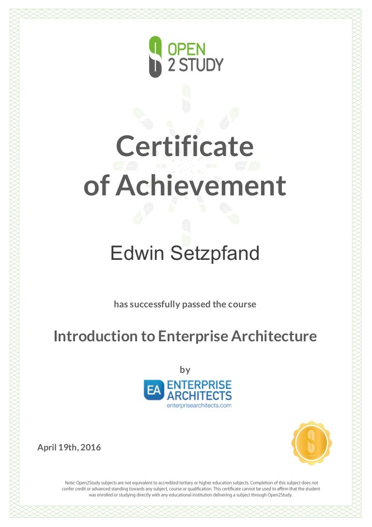 Enterprise architect certificate 19 april 2016 1betcityfo Images